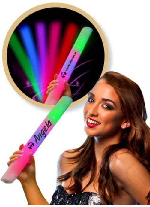 "Custom Printed 16"" Multicolor Light Up LED Glow Foam Lumiton Baton - Printed 1 Color 1"