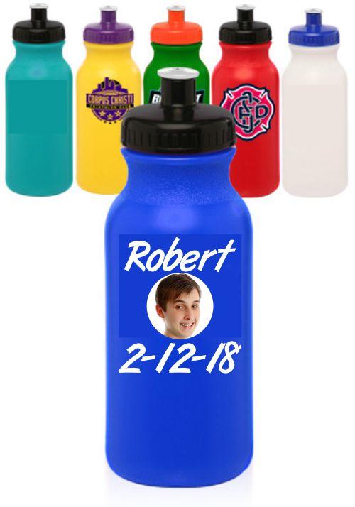 Custom Printed 20 oz. Water Bottles with Push Cap - Printed Full Color 1