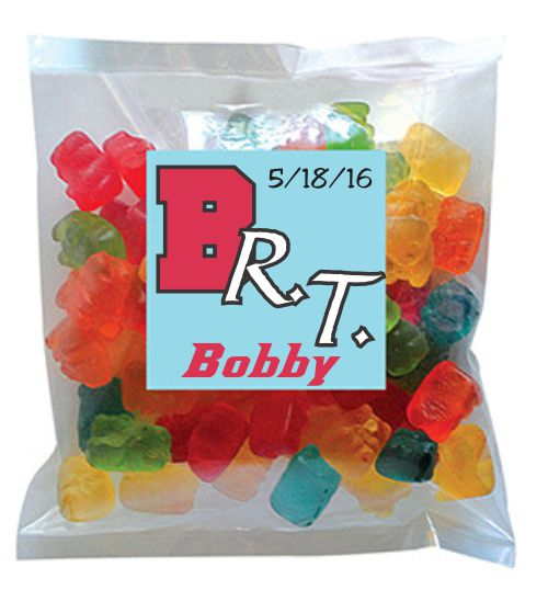 Custom Printed 2oz Bag of Gummy Bears with Full Color Printed Label 1