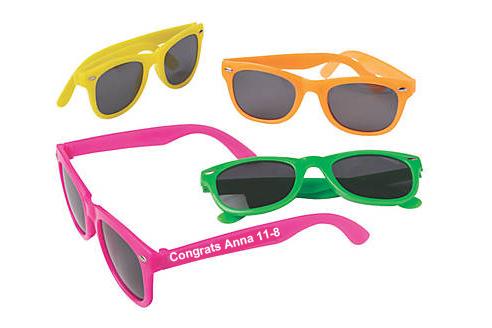 Custom Printed Neon Color Plastic Sunglasses - Printed 1 Color 1